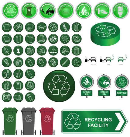 sostenibilit�: Riciclaggio e ambiente di raccolta isolato su sfondo bianco