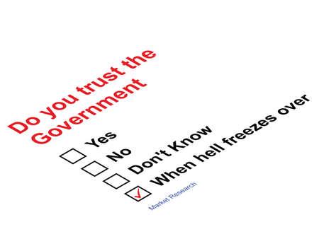 marktforschung: Vertrauen Regierung Marktforschung Fragebogen isoliert auf wei�em Hintergrund Illustration
