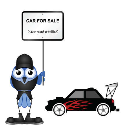 sell car: Comical dishonest car seller isolated on white background