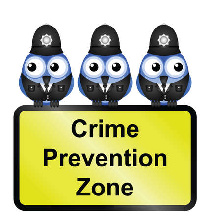 constabulary: Comical UK crime prevention zone sign isolated on white background