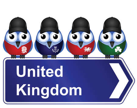 cymru: Comical United Kingdom sign isolated on white background