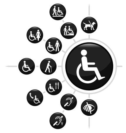 silla de ruedas: Icono discapacidad relacionada conjunto aislado sobre fondo blanco Vectores
