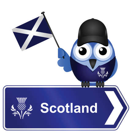scot: Comical Scotland sign isolated on white background Illustration