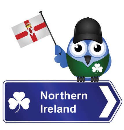 realm: Comical Northern Ireland sign isolated on white background