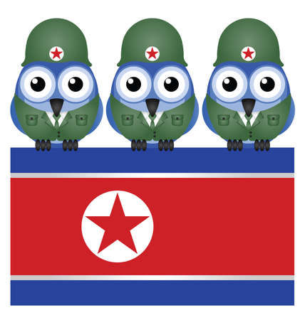 North Korea flag and soldiers isolated on white background Stock Vector - 18654046