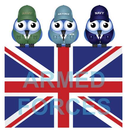infantryman: British armed forces flag isolated on white background Illustration