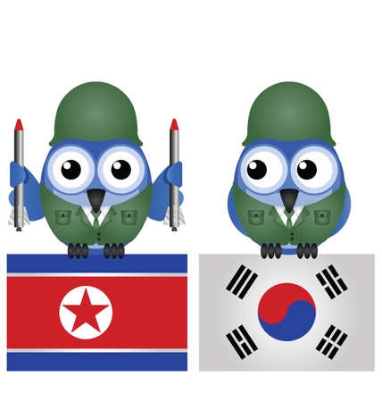 infantryman: North and South Korea flags and soldiers isolated on white background Illustration