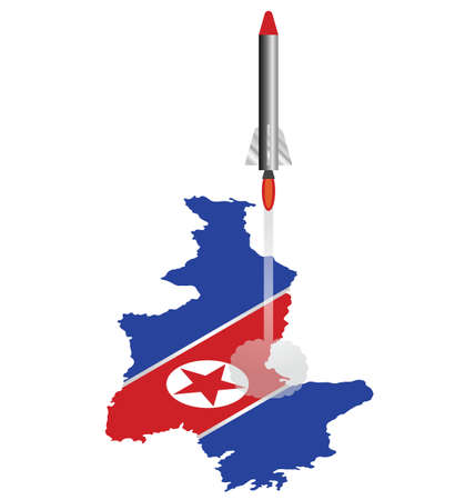 North Korea isometric flag map launching missile isolated on white background