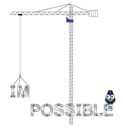 feasible: Concept of making the impossible possible isolated on white background Illustration