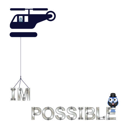 feasible: Concept of making the impossible possible with copy space isolated on white background