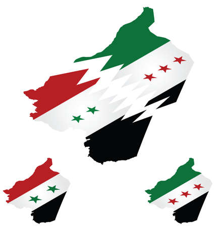 hostilities: Syrian isometric flag maps with representation of country being torn apart by conflict Illustration