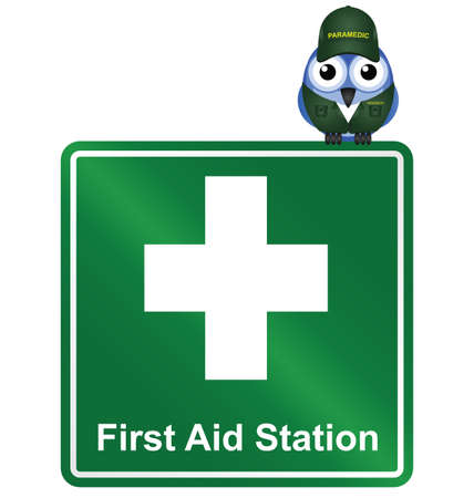 nursing uniforms: Comical First Aid Station sign isolated on white background Illustration