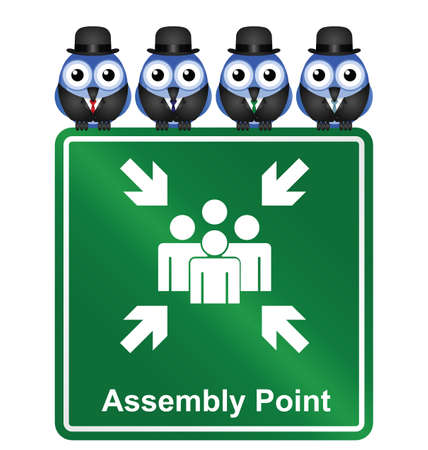 flocking: Comical Assembly Point sign isolated on white background