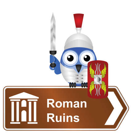 roman empire: Comical Roman Ruins sign isolated on white background