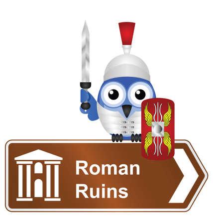 archaeological: Ruinas romanas c�micas signo aislado sobre fondo blanco Vectores
