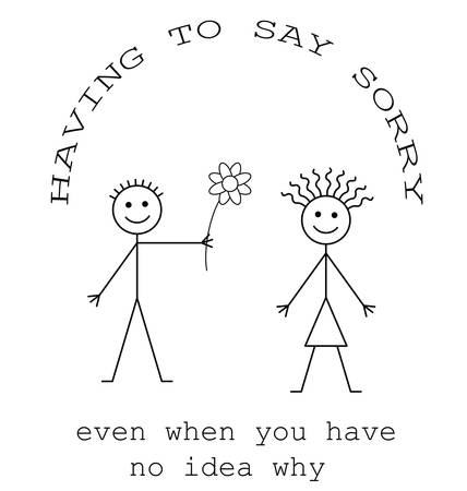 apologise: Having to say sorry isolated on white background Illustration