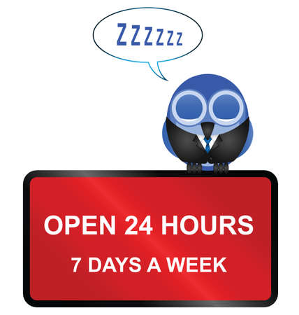retailers: Comical Open twenty four hour retail sign isolated on white background