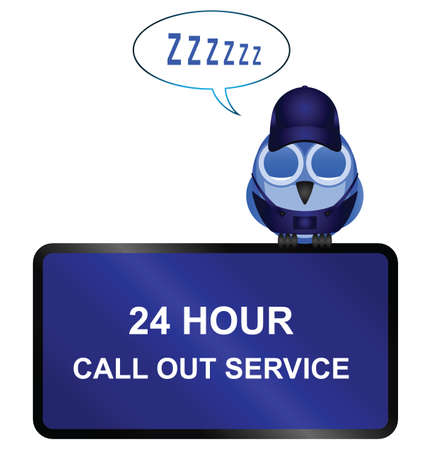 siesta: Comical twenty four call out service sign isolated on white background