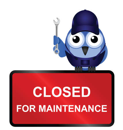 Comical website closed for maintenance sign isolated on white background Vectores