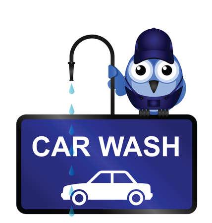 Komische Car Wash Sign isoliert auf weißem Hintergrund