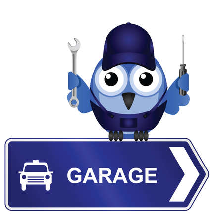 Comical Garage Sign isolated on white background