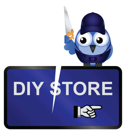 deface: Comical vandalised DIY Store Sign isolated on white background