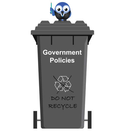 Comical Government Policies garbage bin isolated on white background Vector