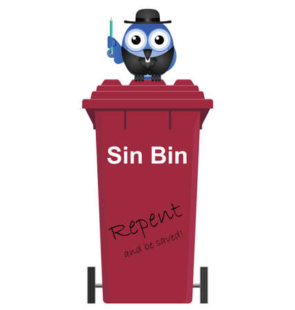 vicar: Comical Red Sin Bin and Vicar isolated on white background