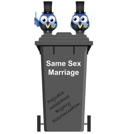 homosexual sex: Concept of intolerance towards same sex marriage isolated on white background Illustration