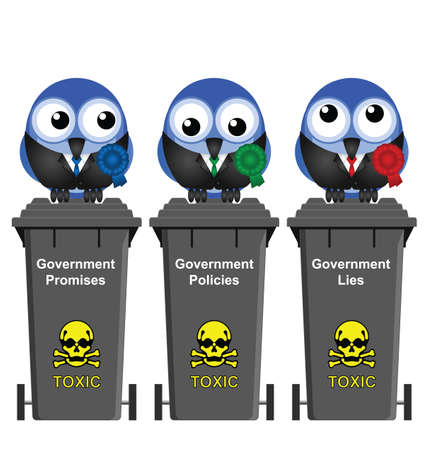 deceit: Promises Policies and Lies Government Bins isolated on white background