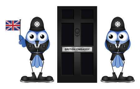 sentry: Comical British Embassy Entrance door isolated on white background