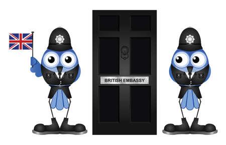 guardsman: Comical British Embassy Entrance door isolated on white background