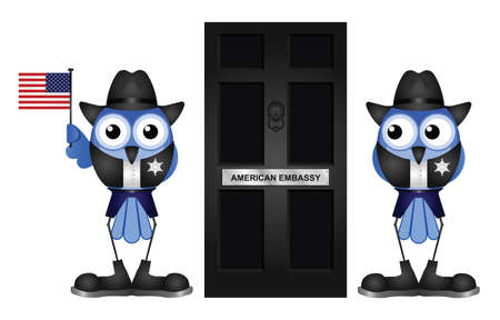 sentry: Comical American Embassy Entrance door isolated on white background Illustration