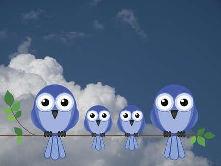 animal limb: Family of birds sat on a tree branch against a cloudy sky
