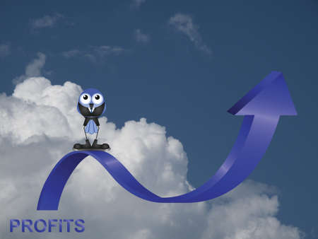 Comical bird businessman with profits up against a cloudy blue sky Stock Photo - 20411067