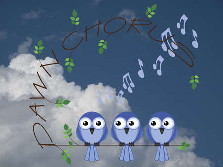 songster: Bird dawn chorus twig text against a cloudy blue sky Stock Photo