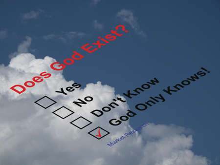 god box: Market research asking does God exist questionnaire against a cloudy blue sky