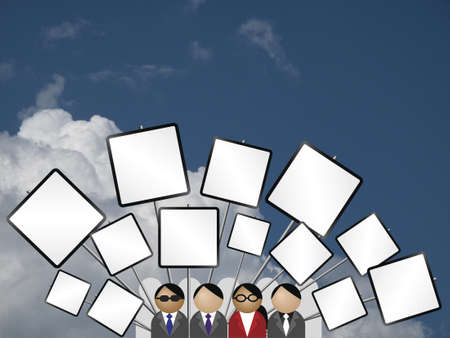 gripe: Crowd protesting with placards blank for own text against a cloudy blue sky