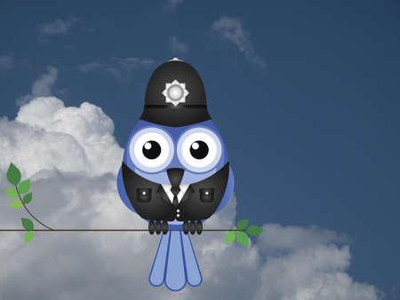 enforcer: Comical bird policeman sat on a branch against a cloudy blue sky