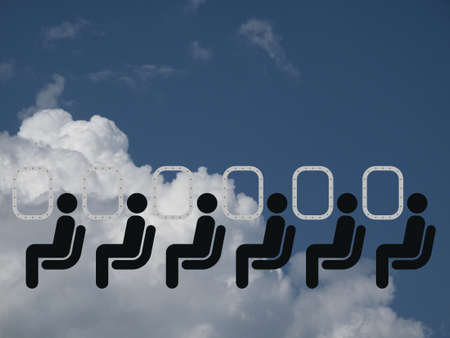 journeying: Representation of air travel against a cloudy blue sky Stock Photo