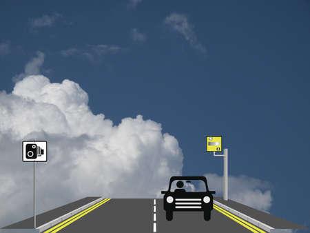 kerb: Motorist being caught speeding by roadside camera Stock Photo