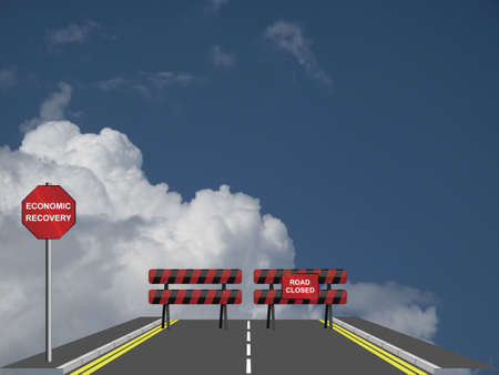 road to recovery: Symbolic road closed to economic recovery against a cloudy blue sky