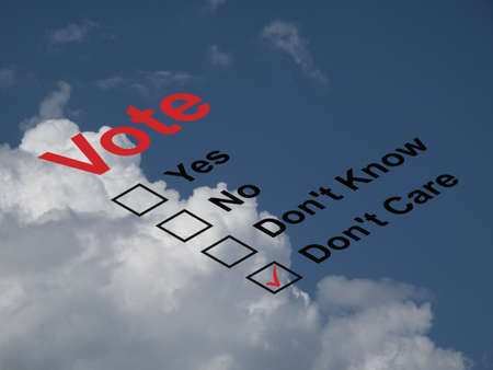 balloting: Ballot paper with the dont care box ticked against a cloudy blue sky