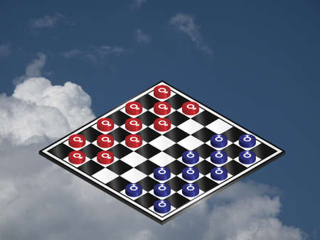 Battle of the sexes played out on a checkers board against a cloudy blue sky photo