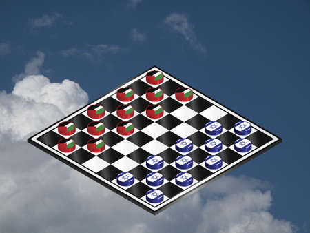 Israel Palestine Conflict played out on a checkers board against a cloudy blue sky photo