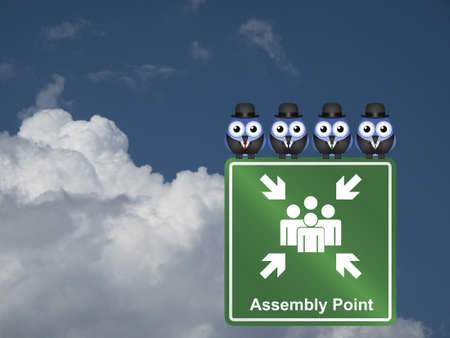 assembly point: Comical Assembly Point sign against a cloudy blue sky Stock Photo
