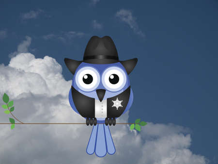law enforcer: Comical American bird Sheriff sat on a tree branch against a cloudy blue sky