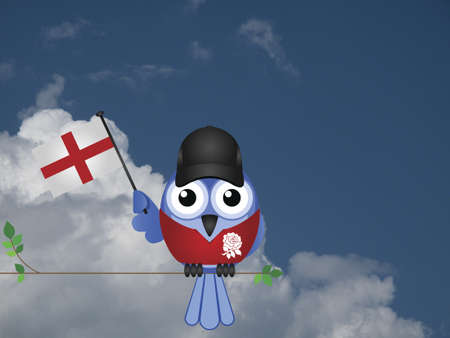 compatriot: Comical English flag waving bird Patriot sat on a tree branch against a cloudy blue sky