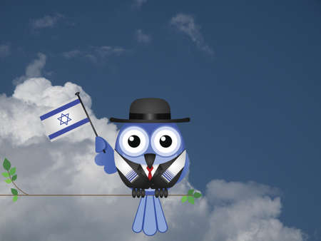 Comical Israeli flag waving bird Patriot sat on a tree branch against a cloudy blue sky Stock Photo - 20411545