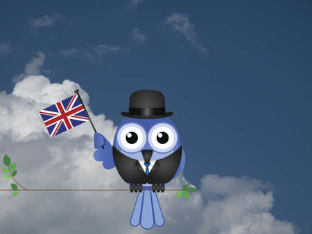compatriot: Businessman flying the flag for British Business against a cloudy blue sky Stock Photo